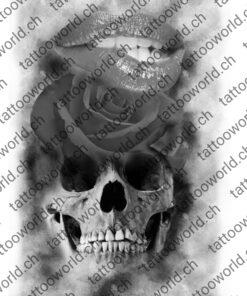 Skull rose lippen mund tattooworld tattoovorlage tattooidee art kunst