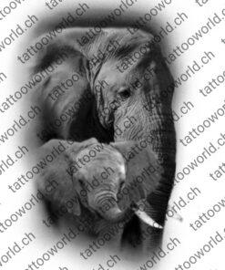 elefantmitbaby elefant wannado tattoovorlage tattooworld