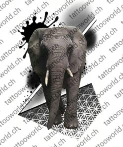elefant geometrisch formen tattoovorlage tattooworld tattooidee