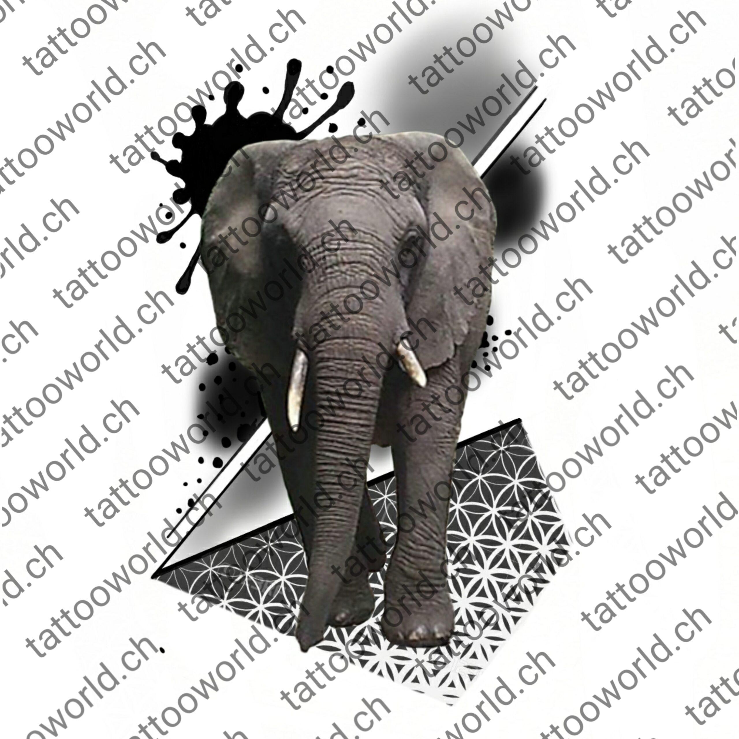 Elefant Geometrisch • TW Store • Tattoo World • Tattoo Vorlage