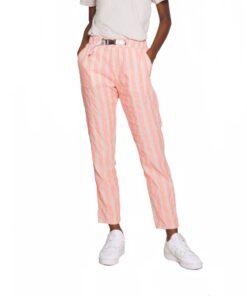 replay stoffhosen leinen damen pink grau hosen sommerhosen mit gurt gestreift