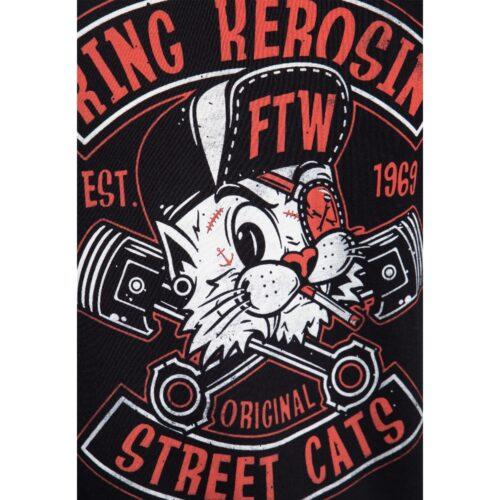 king kerosin, shirt, t-shirt, schwarz, street cats, katze, ftw, werkzeug, biker, anker