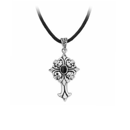 Anhänger, Edelstahl, Leder, Kreuz, totenkopf, stein, schmuck, accessoire, mit halskette
