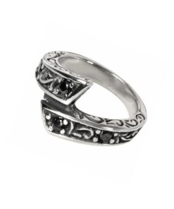 Edelstahl, rostfrei, schmuck, ring, accessoire, black stone