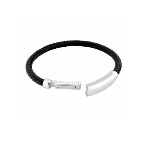 Armband, edelstahl, rostfrei, leder, gravur möglich, geflochten, twstore, schmuck, accessoire