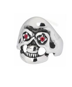 Edelstahl, rostfrei, skull, totenkopf, red eye, accessorie, schmuck
