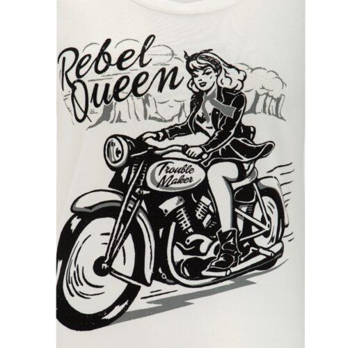 Queen Kerosin, biker, motorrad, shirt, t-shirt, weiss, pin up girl, rebel, queen, baumwolle, offwhite
