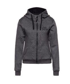 queen kerosin, hoodie, jacke, softshell, grau, baumwolle, wasser und windabweisend, alive tree, frau, flügel, motorrad