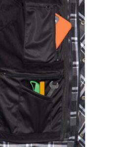 king kerosin, jacke, hemd, softshell, karo, holzfäller, stickerei, rot, weiss, schwarz, garage built, werkzeug