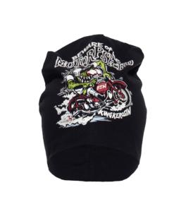 king kerosin, mütze, stoffmütze, printdesign, schwarz, motorpsycho, warme ohren, accessoire